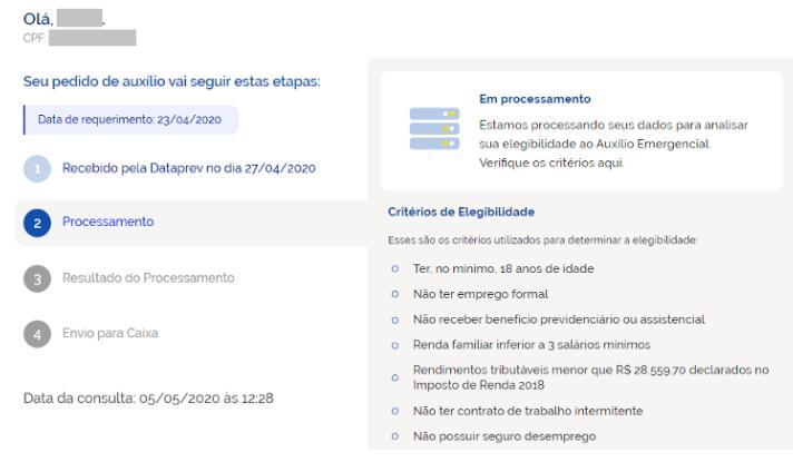 consulta Auxílio emergencial de R$ 600