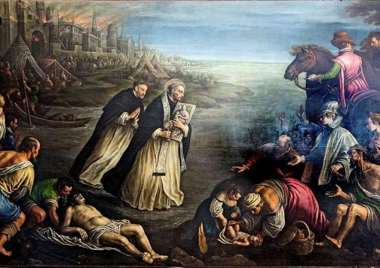 São Jacinto foge de Kiev em chamas salvando a Eucaristia