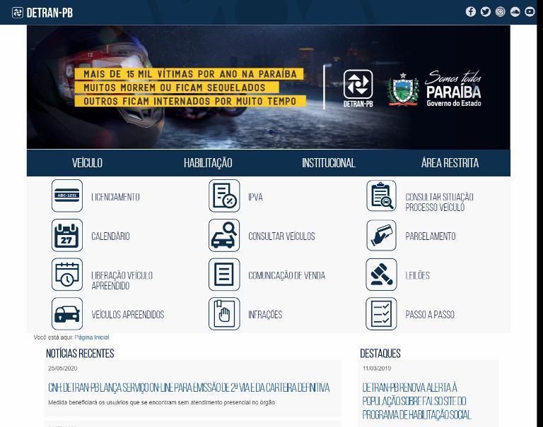 Detran da Paraíba - PB – Consulta de multas e IPVA